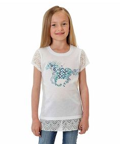 White & Blue Horse Lace-Accent Tee - Toddler & Girls