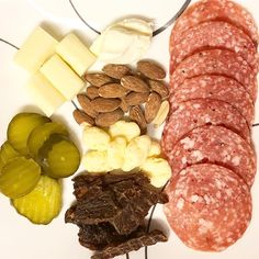 When you want a snack and can't decide, you make a keto snack plate  Mozzarella cheese, cream cheese to spread on salami slices, Keto…