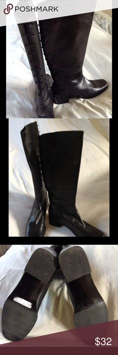 Black leather boots Beautiful black leather lace up the back boots. Gorgeously beyond basic!! Versatile enough for dressing up or flaunting over jeans. Like new as they are very lightly used. Small to small medium width. Low heel. sandini Shoes Heeled Boots