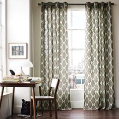 Ikat Ogee Linen Window Panel from west elm. This pattern does a great job of dressing up a neutral room.