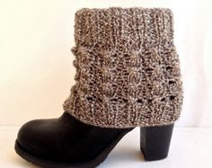 Items similar to Gray Knit Leg Warmers Boot Cuffs Knit Socks Boot Toppers Button Covers Boot Socks Winter Full Button Toppers Valentines Day Gifts For Her on Etsy Cable Knit Socks, Knitted Boot Cuffs, Crochet Boots, Knit Boots, Crochet Gloves, Crochet Slippers, Knitting Socks, Winter Accessories, Women Accessories