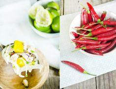 Ceviche de gambas, pulpo y mango