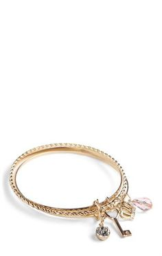 Deb Shops Set of 3 Bangles with Key and Crown Charms $5.60