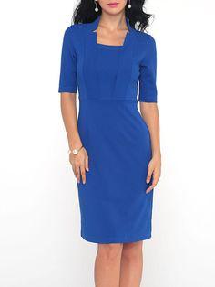 #AdoreWe #Fashionmia Fashionmia❤️Designer Womens Plain Band Collar Bodycon Dress - AdoreWe.com