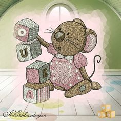 """Playing Mouse - Machine Embroidery Designs Set for a Babies and Children of a series """"Old Toy"""""""
