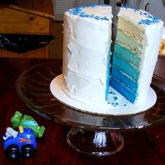 Gender reveal cake. Like the idea of the first layer being white so you can't see it the second you cut into it