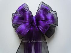 Black and Purple Wedding Decor Purple Black Birthday Party Bow by SimplyAdornmentsss,