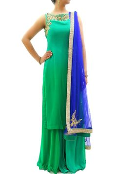 Green Ombre Embroidered Kurta And Palazzo SILVEREENE by S Anchal