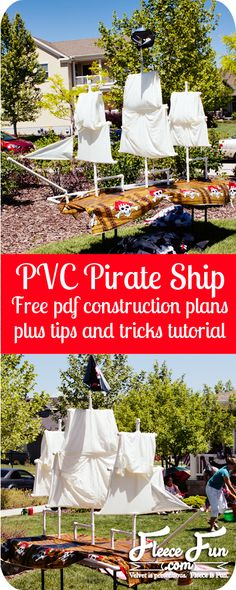 I am convinced that PVC pipe is basically adult tinker toys.  Such a fun decoration. How to build a pirate ship from pvc pipe #pirate #party