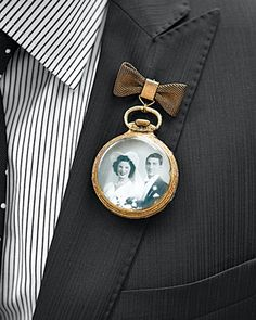 Ideas for boutonniere alternatives perfect for reflecting the grooms interests, hobbies or personalities. Non floral wedding boutonniere ideas. Boutonnieres, Groom Boutonniere, Vintage Boutonniere, Vintage Lockets, Antique Locket, Wedding Memorial, Wedding Remembrance, Bijoux Diy, Groom And Groomsmen