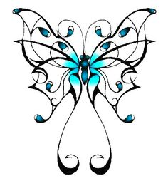 black butterfly with turquoise at the center.