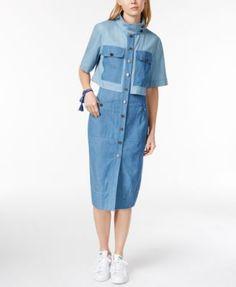RACHEL Rachel Roy Layered Denim Midi Shirtdress   macys.com