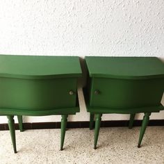 Vintage French Green Bedside Tables, Set of 2 2 Bedside Tables, Nightstand, Double Sliding Doors, Furniture Restoration, Wheelbarrow, Hgtv, Restore, French Vintage, Interior Inspiration