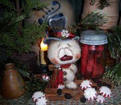 "Primitive Patti's Ratties Snowman Fuzzy Frosty 5"" Christmas Doll Vtg Bear Artist"