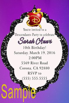 Delightful Descendants Birthday Invitation   To Place Orders Or Follow Me On FB By  Clicking On The
