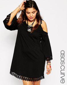 ASOS Curve | ASOS CURVE Swing Dress With Cold Shoulder & Lace Hem at ASOS