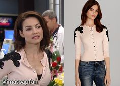 I'm a Soap Fan: Elizabeth Webber's Pink Cardigan with Black Lace Sleeves - General Hospital, Season 52, Episode 160, 11/14/14 #GH #GeneralHospital