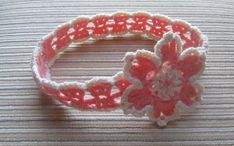 Instant Download Number 106 CROCHET PATTERN pdf Coral and Cream Headband with a Flower
