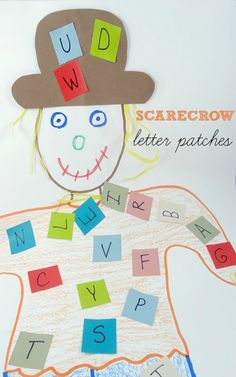 alphabet games and activities:  scarecrow letter patches is a fun fall activity for kids!