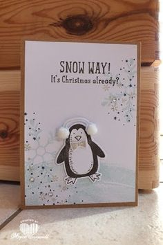Magical Scrapworld: Christmas card, Penquin, Stampin' Up!, Snow place, holly jolly greetings, work of art