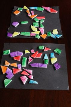 Wash up those styrofoam meat trays, and your kids can create beautiful mosaic art.  Great open-ended art project, and kids can work on their scissor skills too. Happy Hooligans