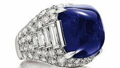 Trombino ring by Bulgari, 1971 Platinum, sapphire, diamonds