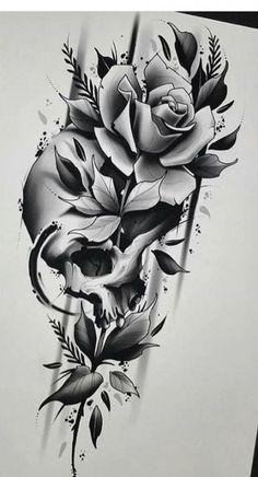 skull rose tattoos * skull rose tattoos + skull rose + skull rose drawing + skull rose tattoo design + skull rose tattoo for women + skull rose wallpaper + skull rose tattoo men + skull rose tattoo sleeve Skull Tattoo Flowers, Skull Rose Tattoos, Small Flower Tattoos, Flower Tattoo Designs, Body Art Tattoos, Cool Tattoos, Skull Sleeve Tattoos, Flower Designs, Tattoo Roses