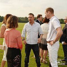 LONDON, ENGLAND - MAY 28: Tonya Meli, Charlotte Riley, Tom Hardy and Prince William, Duke of Cambridge, attend day one of the Audi Polo Challenge at Coworth Park on May 28, 2016 in London, England.