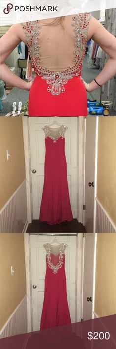 Prom dress Red Cinderella Devine form fitting prom dress with slight mermaid bottom (tulle insert for shape). Red and diamond detailing with mesh back and sleeves. Small train. Dresses Prom