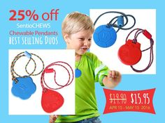 SWEET SPRING SALE < Save 25% > ♥On TWO SentioCHEWS DUOS! ♥Our most popular #chewelry sets of #sensory tools and #autism products.  ♥SentioCHEWS Chewable Necklaces with popular paracord breakaway lanyards are perfect for aggressive chewers! ◘SALE ends May 16th 2016 Buy here: http://kidcompanions.com/ NOTE: USA prices may vary a bit with the value of Canadian dollar on the day you place your order.
