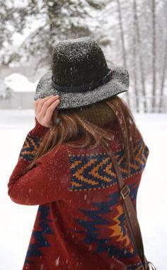 #winter #fashion / tribal print sweater + hat