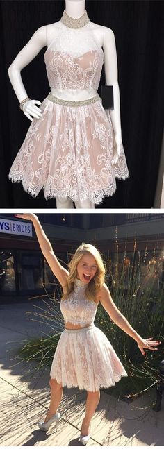 two piece homecoming dress, 2 piece homecoming dress, 2017 short homecoming dress, white lace homecoming dress, high neck homecoming dress