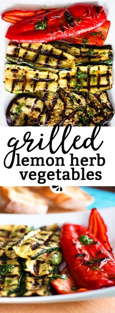 These Lemon Herb Marinated Grilled Vegetables are SO easy to make. The marinade is the best part of this recipe: So healthy with olive oil, fresh herbs and lemon zest! You can use any vegetables you like, we love to use classic summer veggies. They are th