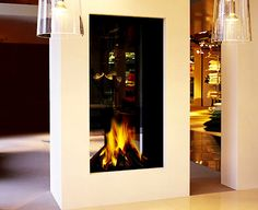 the beauty of a two-sided fireplace - m :: Minimalist Living Room Interior Decorating Fireplace 850-1