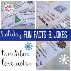 Holiday fun fact AND joke lunchbox notes (with hanukkah!) from Teach Mama