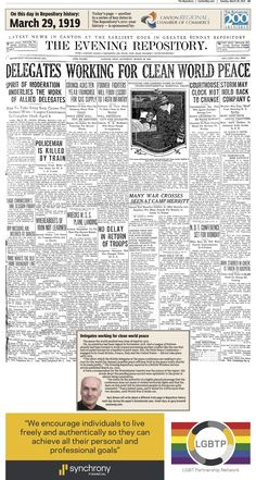Talks at the Paris Peace Conference following World War I made front-page news in The Repository on March 29, 1919.
