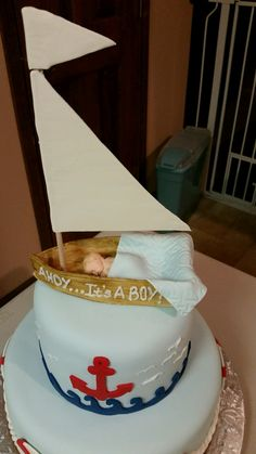 Boy Baby Shower Cake - Father is in the Navy - top view