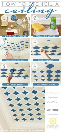 Stencil a fun pattern like the Moroccan Tiles using Cutting Edge Stencils and this easy how-to steps! http://www.cuttingedgestencils.com/moroccan-tiles-wall-pattern.html