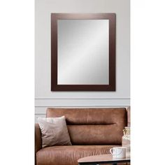 BrandtWorks Walnut Showroom Vanity Wall Mirror at Lowe's. A stunning choice for any living space. This warm walnut framed wall mirror features a simple yet elegant design that complements any setting. This 3 Brown Wall Mirrors, Silver Framed Mirror, Vanity Wall Mirror, Round Wall Mirror, Beveled Mirror, Beveled Glass, Frames On Wall, Framed Wall, Farmhouse Wall Mirrors