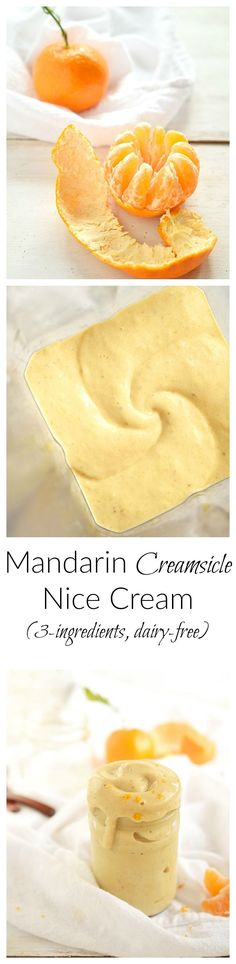 Mandarin Creamsicle Nice Cream   Juice satsuma mandarins blended with frozen bananas and fresh ginger for a light and refreshing soft serve nice cream! 3-ingredients, QUICK, and SO DELICIOUS!   simplytothrive.com