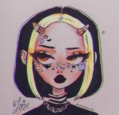 Cute Art Styles, Cartoon Art Styles, Cartoon Drawings, Art Drawings Sketches Simple, Cute Drawings, Hipster Drawings, Girl Drawing Sketches, Psychedelic Drawings, Grunge Art