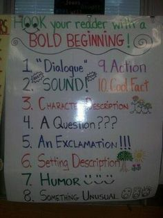 Use a bold beginning for your stories with these 10 different ideas!  Image from http://teachr.co/1z5KC2O