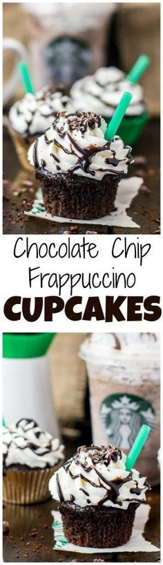 Pinterest: @1jasminedesiree |Copycat Starbucks Double Chocolate Chip Frappuccino Cupcakes