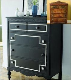 Fab Dresser Makeover Classic Black and Gold - Top 60 Furniture Makeover DIY Projects and Negotiation Secrets Painting Old Furniture, Refurbished Furniture, Repurposed Furniture, Furniture Projects, Furniture Making, Furniture Makeover, Painted Furniture, Diy Furniture, Diy Projects