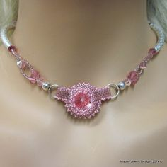 565N - Handmade sterling silver hart pattern tube beaded peyote stiched necklace with a 18 mm rose Rivoli Swarovski Crystal that is embezeled with tiny rose luster Delicas tube beads