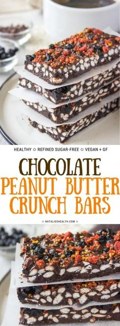 Superfoods infused Raw Chocolate Peanut Butter Crunch Bars are amazingly HEALTHY snack. These bars are loaded with nutrients and powerful antioxidants, as well with some incredible flavors. Bursting with crispiness these are the perfect guilt-free chocola Raw Chocolate, Chocolate Peanut Butter, Chocolate Recipes, Healthy Desserts, Easy Desserts, Delicious Desserts, Atkins, Snack Recipes, Dessert Recipes