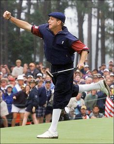 Payne Stewart, pretty intense. Won a skin off of him on a Par 3 by bouncing a ball off of an equipment shed onto the green. I think he wanted to punch me.