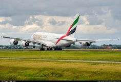 See the engine thrust of Emirates' Airbus A380-861 A6-EEA taking off from the famous Polderbahn at Amsterdam Schiphol Airport - EHAM