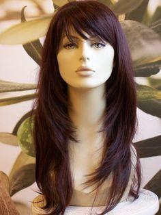 FULL WOMENS LADIES FASHION HAIR WIG TWO TONE DARK RED LONG HEAT RESIST UK