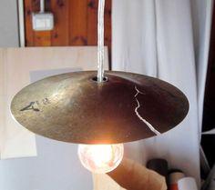 Broken Cymbal Lamps | Leonardo Criolani....can make this on our own for the studio Home Lighting Design, Interior Lighting, Estilo Industrial, Industrial House, Drum Room, Fashion Lighting, Living Room Lighting, Decoration, Pendant Lamp
